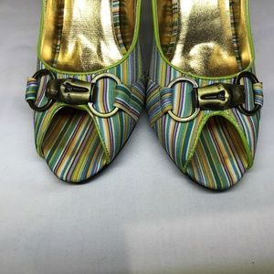 if Carrini Shoes - if Carrini Woman's Grn Multi-Color Stripe Shoes 8